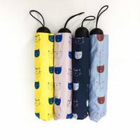 Payung lipat 3 muka kucing / lucu / cantik / lapis hitam / GRC - A581