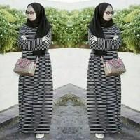 Harga gamis maxi dress salur bahan spandek ukuran fit l pakaian | antitipu.com