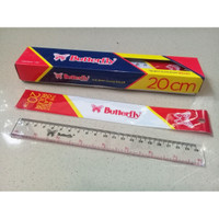 Penggaris Plastik Glass Ruler 20 cm - Butterfly