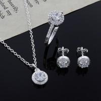 Perhiasan: Set Kalung Anting Anting Cincin Perak Model Kristal Swa