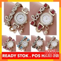 Cayman Jam Tangan Wanita Fashion Diamond LOVE Bracelet Quartz Analog