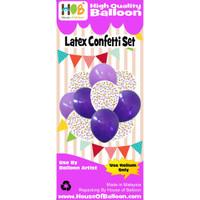 Set Balon Ulang tahun Latex + Confetti Bulat Mix Purple Ungu