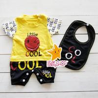 Baju Bayi Jumper Set Hansop +Bib Cool Little Smile