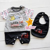 Baju Bayi Jumper Set Hansop +Bib Cool Little Cat