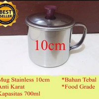 GROSIR Mug 10cm Cangkir Gelas Thai Tea Stainless Mini Kopi Teh Kecil