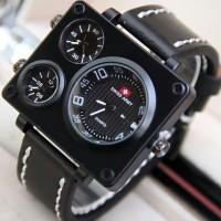 SKY W ! Jam Tangan Pria / Cowok Swiss Army Big Size SK1 Leather Black