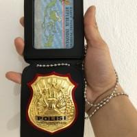 Name Tah Id Card Holder Dompet Kalung Lencana Polisi Polri Kulit