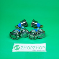 22mm 12V Led Push Silver Metal Stainless Steel Button Switch AY85