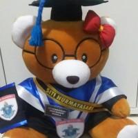 boneka wisuda teddy bear kacamata coklat 32cm + selempang