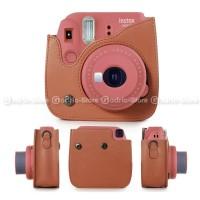 Fujifilm Leather Bag Polaroid Instax Mini 8 9 Tas Warna Coklat Case