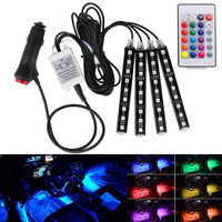 Lampu LED RGB warna warni + Remote Kolong interior Mobil isi 4 pcs