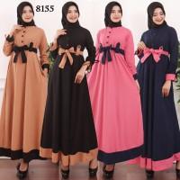 Baju Gamis Wanita Gamis Busui Kancing + Pinggang Pita Bahan Wafer 8155