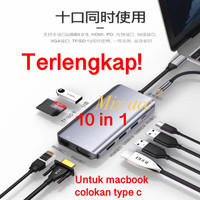 Usb type c to HDMI/VGA/RJ45 Type-c USB 3.0 USB Hub for MacBook 10in1