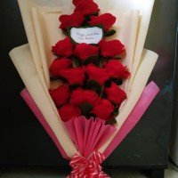 Hand Bouquet - Red Flanell. Kado/Hadiah