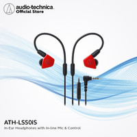 Audio-Technica ATH-LS50iS RD Black Red In-Ear Headphones with Mic