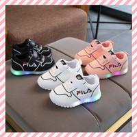 Sepatu Anak LED Fila Breathable Warna Putih Pink Ukuran 21-30