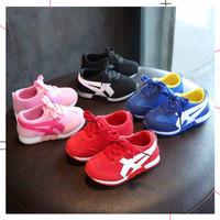 Sepatu Anak Model Asics Tiger Warna Red Blue Pink Black Ukuran 21-25