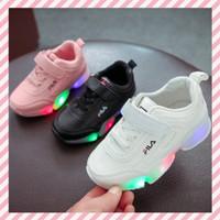 Sepatu Anak LED Fila Velcro Leather Warna Putih Pink Ukuran 21-30