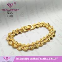 Gelang rantai plat polos perhiasan imitasi lapis emas 536