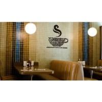 Stiker Oracal Cafe Restauran Motif Cangkir Coffee