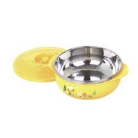 Babysafe Stainless Bowl with Cover 450 ml SS002 - Mangkok Makan Bayi
