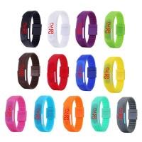 Jam Tangan Digital LED Layar Sentuh Strap Silikon untuk Pria / Wanita