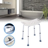 Top Brand Portable Shower Seat Chair Adjustable 8 Height Stool Bench