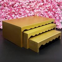 Cake Stand Tempat Sajian Tempat Saji 3 in 1 Scalloped Stand - Gold