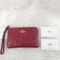 COACH F58034 CORNER ZIP DEBOSSED - RED