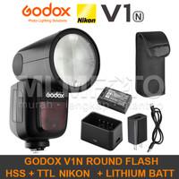 Godox V1N Nikon TTL HSS Li-Ion Round Head Flash V-1N V1-N V1 Kit Batt