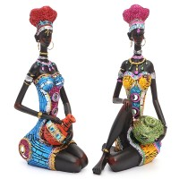 Top Brand Resin Figurine Craft African Women Beauty Lady Statue