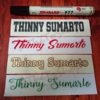 AThiToShop Sticker Nama Waterproof 1 set dapat 4pcs