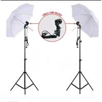 Paket Studio Lampu Payung payung Putih 60cm dengan Tiang Tinggi 240cm