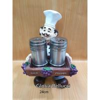 patung pajangan koki salt pepper tempat merica lada garam chef