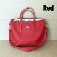 tas lacoste tote polos mini - Merah
