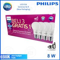 Lampu LED Bulb Philips 8W Paket 3 free 1