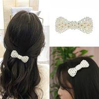 Jepit Korea Mutiara Pita Ribbon Pearl Korean Hairpin Jepitan Rambut