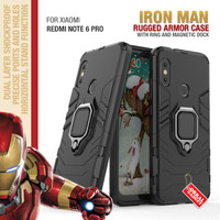 Armor Case Xiaomi Redmi Note 6 Pro Soft Softcase Hard Ring Casing
