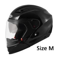 ZEUS 611C size M black glossy hitam metalik 2in1 modular
