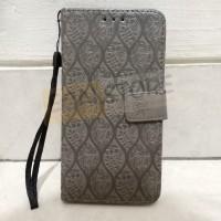 (SALE!) Flip Case Sony Xperia Z3 kulit motif timbul bunga daun abu-abu