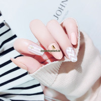 YT-009 Instant Nail Art Stripes Zigzag Peach Fake Nails Kuku Palsu