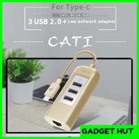 REMAX Cati Type C 3 USB LAN Network Port Hub RU-U4