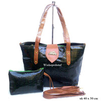 Tas Kulit Kasual Croco Hem black
