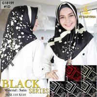 Kerudung Segi Empat Motif Satin Velvet Black Series By Azara - 1D