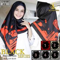 Kerudung Segi Empat Motif Satin Velvet Black Series By Azara - 1E