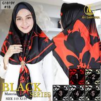 Kerudung Segi Empat Motif Satin Velvet Black Series By Azara - 1B