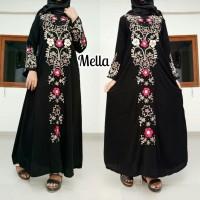 Abaya arab gamis hitam pernik model ikat pinggang elegan tren masakini - Hitam, XL