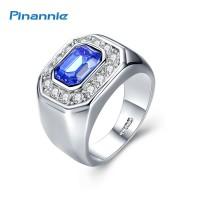 Pinannie kristal Austria asli Platinum berlapis cincin pria dan untuk