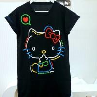 Dress wanita bigsize hello kitty neon