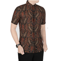 VM Kemeja Batik Pendek Slimfit Coklat - B-415